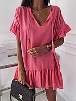 Женское летнее платье туника для пляжа белая малиновая бежевая оверсайз тонкая свободная легкая