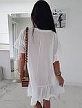 Жіноче літнє плаття туніка для пляжу біла малинова бежева оверсайз тонка легка вільна, фото 5