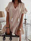 Жіноче літнє плаття туніка для пляжу біла малинова бежева оверсайз тонка легка вільна, фото 2
