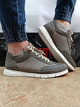 Комфортні літні кросівки сірі з нубука Detta