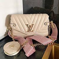 Жіноча сумка Louis Vuitton New Wave Multi Pochette Beige | Клатч крос боді Луї Вітон Мульти Пошані Бежевий