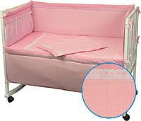 """Детский постельный набор в кроватку 120х60см 4 предмета розовый Карапузик ТМ """"Руно"""""""