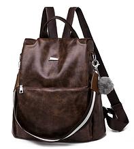 Рюкзак-сумка женский коричневый экокожа