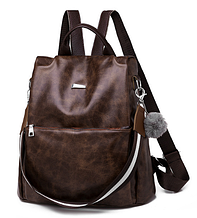 Рюкзак-сумка жіночий коричневий екошкіра