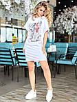 Женское платье, турецкий кулир, р-р универсальный 42-46 (белый), фото 2