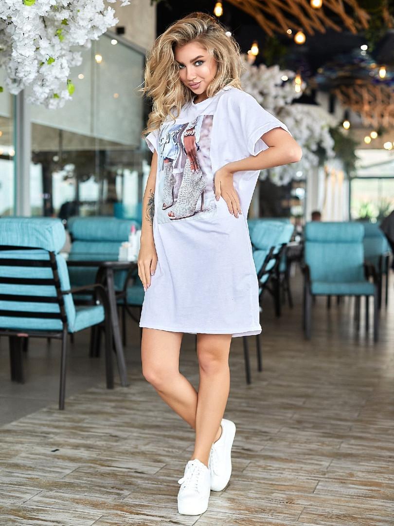 Женское платье, турецкий кулир, р-р универсальный 42-46 (белый)