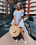Летнее женское платье фонарик с коттона голубое белое 42 44 46 популярное мини, фото 5