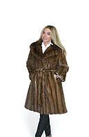 Купить норковую шубу полушубок норка махаон 44 46 48 с поясом классика модная, фото 1