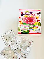 Аодзиру с коллагеном и плацентой со вкусом фруктов YUWA Aojiru (20 шт), фото 1