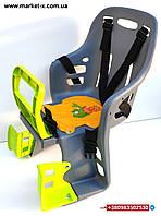 Серое с зеленым велокресло детское велосипедное кресло на велосипед