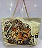 Ультрамодная пляжная сумка женская летняя с кошельком принт Гепард ручки канатные на плечо 116741 60х40х20 см
