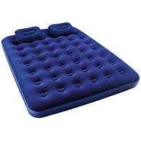 Надувной матрас для купания для плавания и сна пляжный на море велюровый с 2мя подушками и насосом