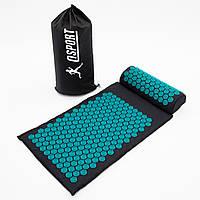 Массажный коврик Аппликатор Кузнецова + валик массажер для спины/шеи/головы OSPORT Lotus Mat Eco (apl-021)