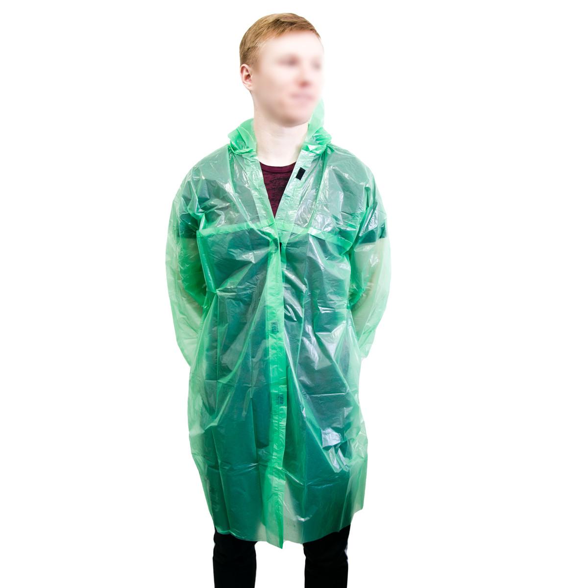 """Підлітковий плащ від дощу """"Ваш комфорт"""" Зелений, дощовик 60 мкм на липучках для дівчинки і хлопчика (дощовик)"""