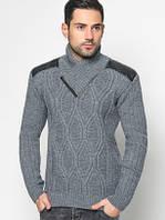 Стильный мужской теплый свитер шаль