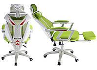 Ігрове крісло спорт NIKO біло-зелене Геймерское кресло Стул компьютерный Крісло спортивне Спортивное кресло