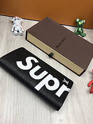 Клатч портмоне LouiS Vuitton Supreme на кнопці унісекс  чорний