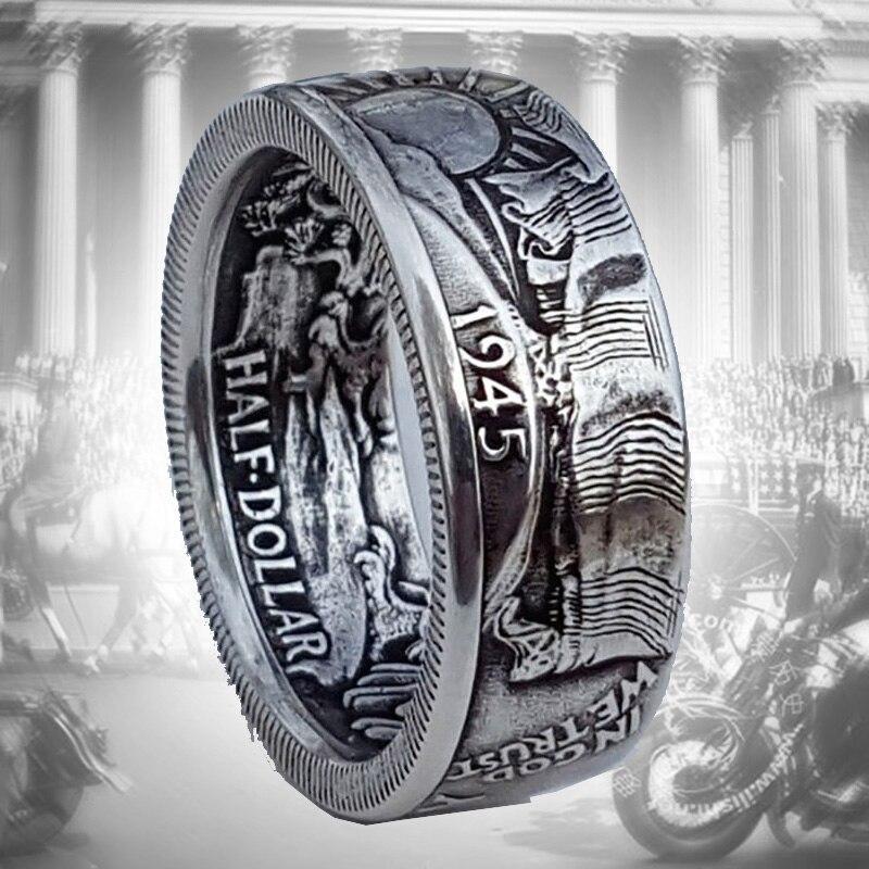 Кольцо Мужское City-A Размер 19.5 цвет Серебряное Монета Morgan Half Dollar 1945 USA Винтажное №3103