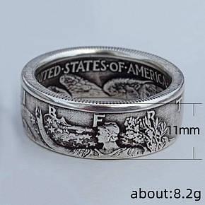 Кільце Чоловіча City-A Розмір 19.5 колір Срібна Монета Morgan Half Dollar 1945 USA Вінтажне №3103, фото 2