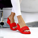 Тільки 37 р! Шльопанці / сабо жіночі червоні на танкетці 7,5 см еко - шкіра, фото 5