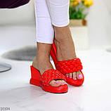 Тільки 37 р! Шльопанці / сабо жіночі червоні на танкетці 7,5 см еко - шкіра, фото 8