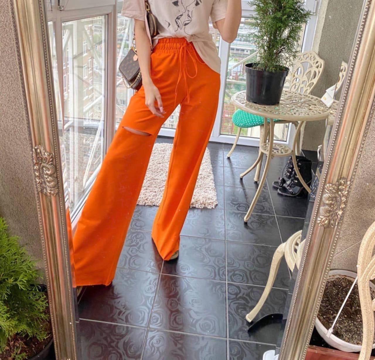 Женские штаны, двунить, р-р 40-42; 44-46 (оранжевый)
