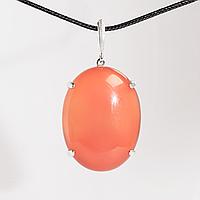 Серебряный кулон с сердоликом, 40*30 мм., 1553КЛС