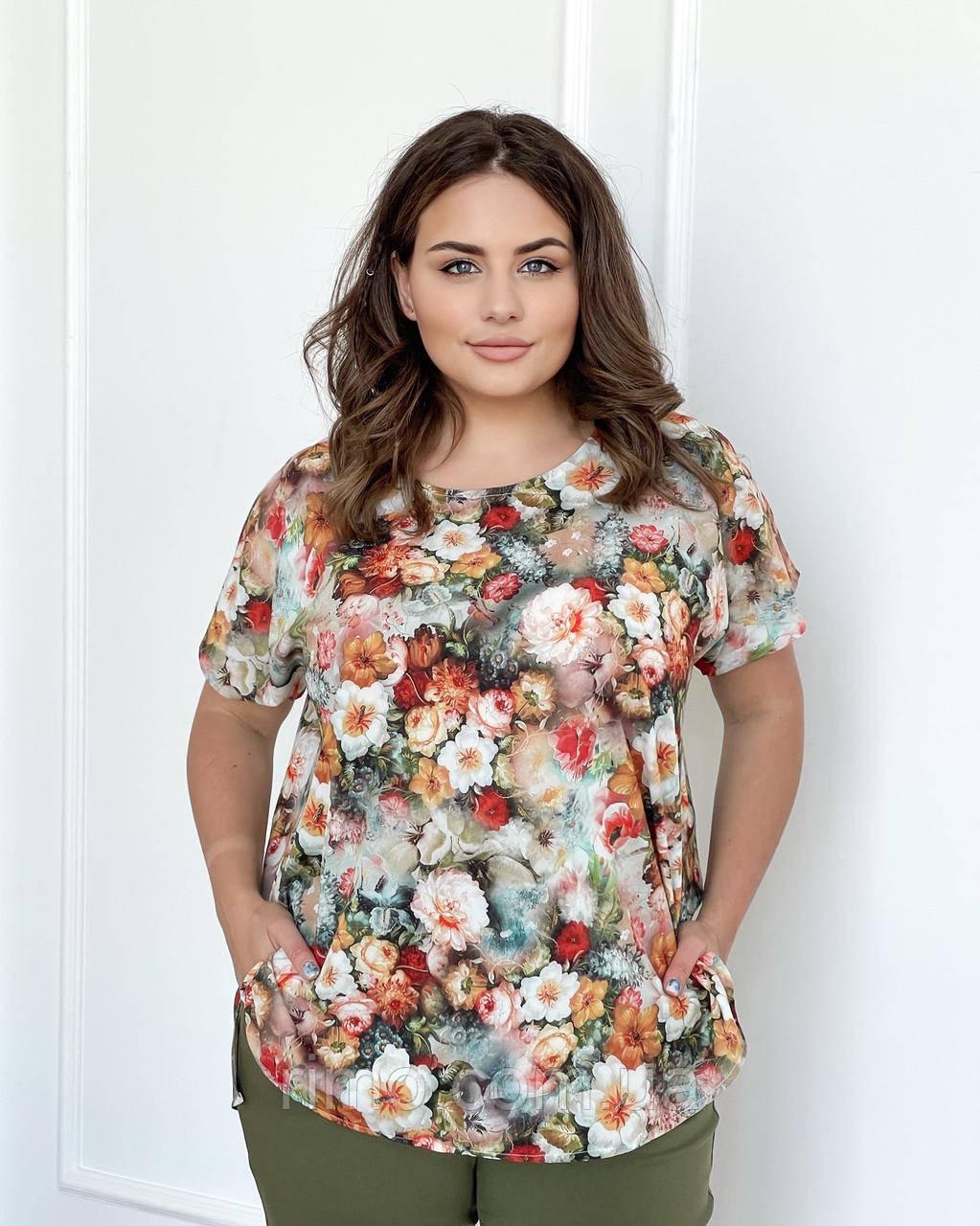 Блуза великого розміру Флай квіти акварель