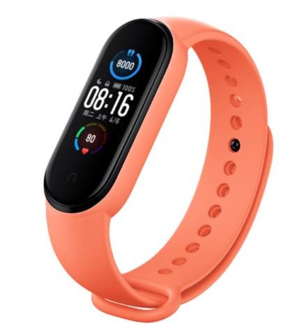 Ремешок для Mi Band 5 силиконовый Оранжевый BeWatch (1540607)