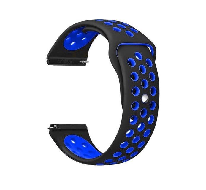 Ремінець BeWatch для Samsung Galaxy Watch 3 41 mm силіконовий перфорований 20мм Чорно-синій (1010118)