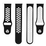 Ремешок BeWatch для Samsung Galaxy Watch 3 41 mm силиконовый 22мм перфорированный Черно-Белый (1020112), фото 2