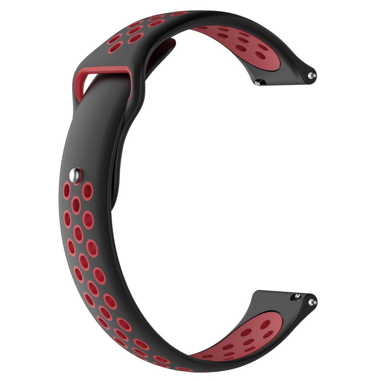 Ремешок BeWatch для Samsung Galaxy Watch 3 45 mm силиконовый 22мм перфорированный Черно-Красный (1020113)