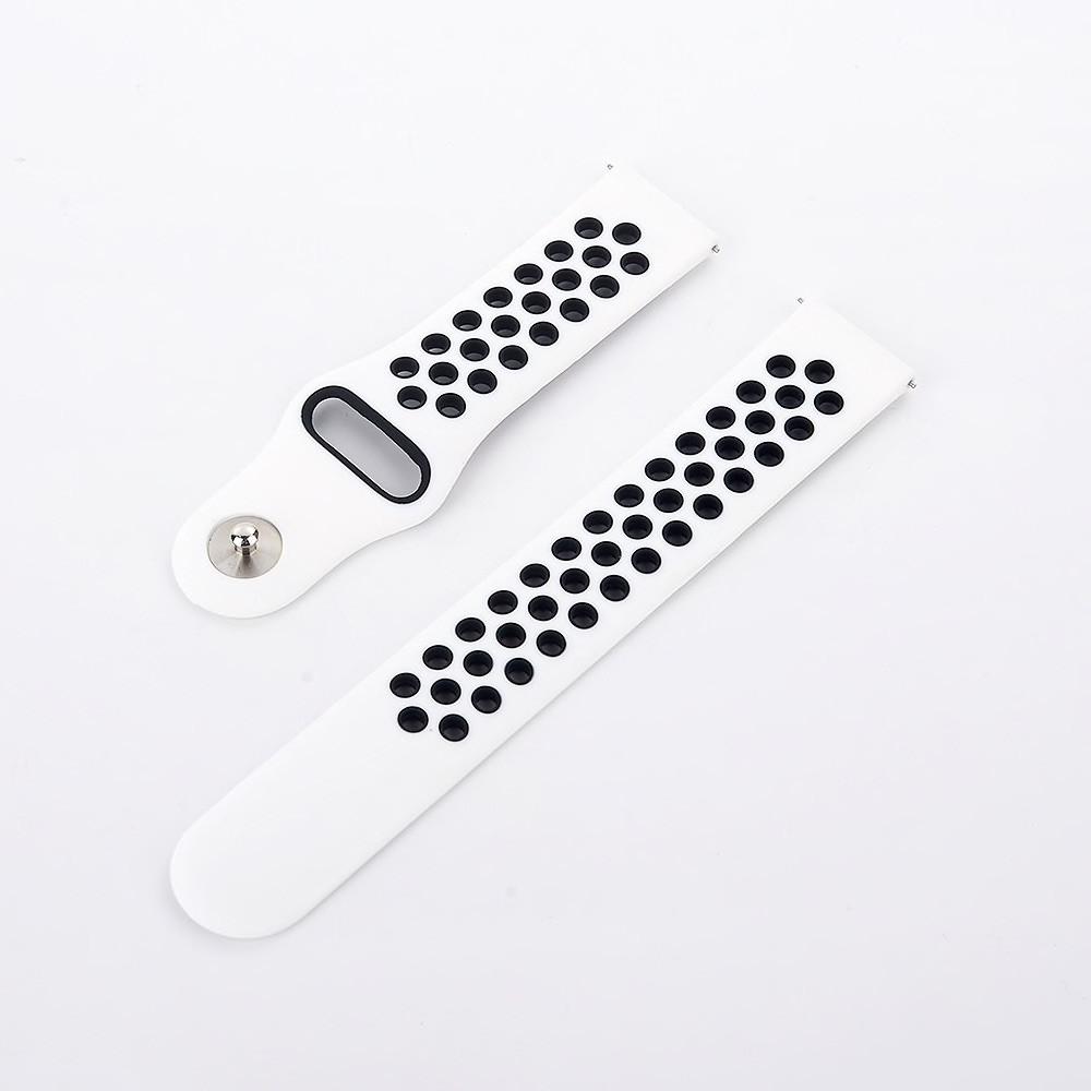 Ремінець BeWatch для Samsung Galaxy Watch 3 45 mm силіконовий 22мм перфорований Біло - чорний (1020121)