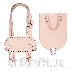Рюкзачный комплект Saffiano з натуральної шкіри, колір світло-рожевий
