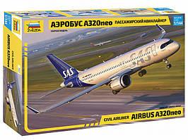 Пассажирский авиалайнер Аэробус А320neo. Сборная модель в масштабе 1/144. ZVEZDA 7037