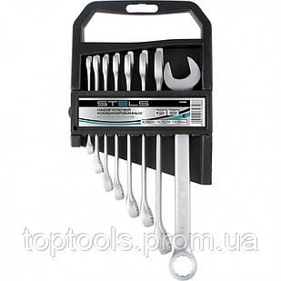 Набір ключів комбінованих, 8 - 19 мм, 8 шт, CrV, матовий хром, STELS