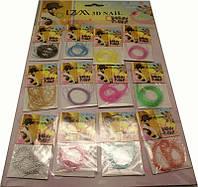 Декор на листе нити в ассортименте 12 шт, декор YRE DK-46, материалы для наращивания ногтей