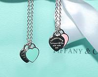 Серебряный женский  кулон подвеска Два Сердца Tiffany & Co Оригинал