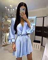 Ніжне повітряне плаття міні на запах, розмір 42-44, на замовлення 40 46 48 50 52, є заміри!