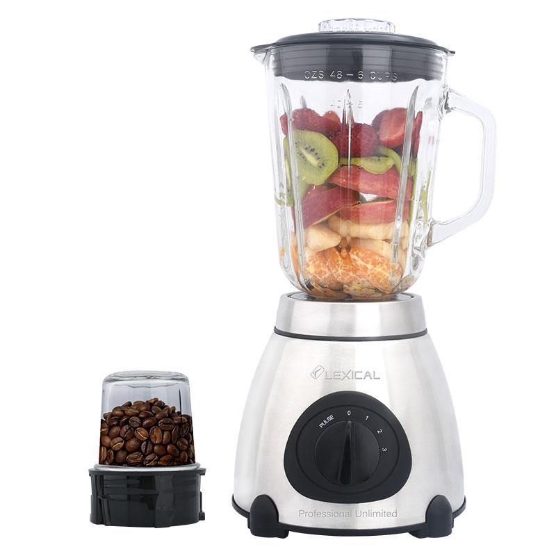 Блендер Lexical LBL-1508 стаціонарний +кофемолка (1.5 л, 600Вт, скло) харчової екстрактор шейкер, подрібнювач