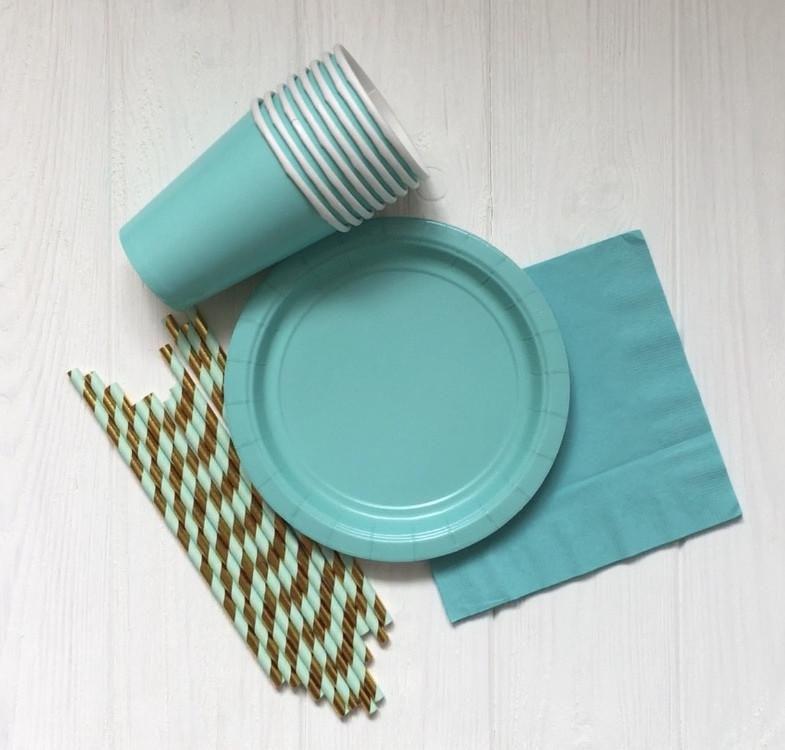 """Набор бумажной посуды - тарелочки, стаканчики,салфетки и трубочки """"Mint"""" (40 шт.)"""