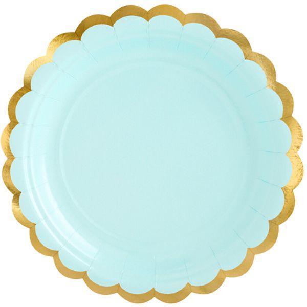 """Паперові тарілки """"М'ятні із золотою окантовкою"""" (6 шт.)"""