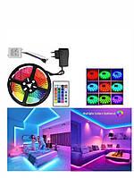 Гибкая цветная RGB LED светодиодная лента SMD 5050 RGB 5м с пультом и блоком питания