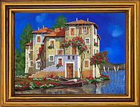 """Схема для вышивания бисером на атласе с оригинала картины художника Гвидо Борелли """"Дом у залива"""" АА-719"""