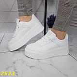 Криперы кроссовки на высокой массивной платформе белые 37, 38 р. (2523), фото 4