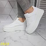 Криперы кроссовки на высокой массивной платформе белые 37, 38 р. (2523), фото 3