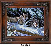"""Схема для вышивания бисером на атласе """"Волки в зимнем лесу"""" АЕ-322"""
