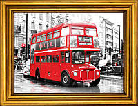 """Схема для вышивания бисером на атласе """"Красный  автобус  Лондона"""" АЕ-338"""