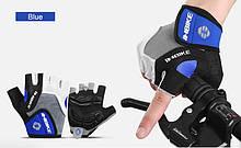 Летние велоперчатки INBIKE без пальцев c гелевыми вставками S, Синий
