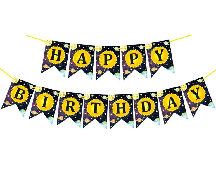 Бумажная гирлянда Happy Birthday Космос, 3 метра